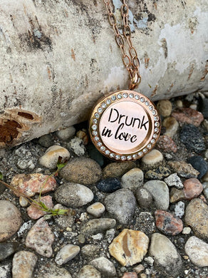Drunk in Love rose gold locket