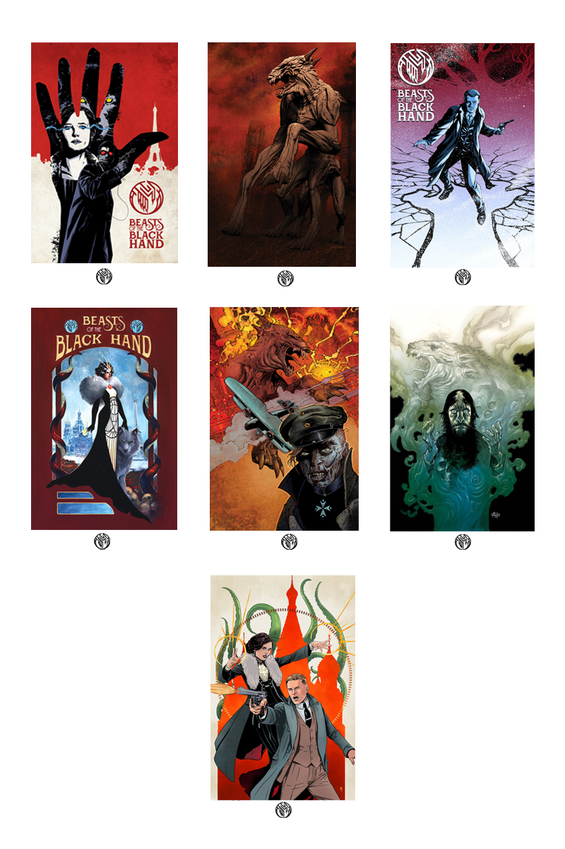 BEASTS OF THE BLACK HAND GRAPHIC NOVEL ART PRINT SET OF ALL 7 VARIANT COVERS