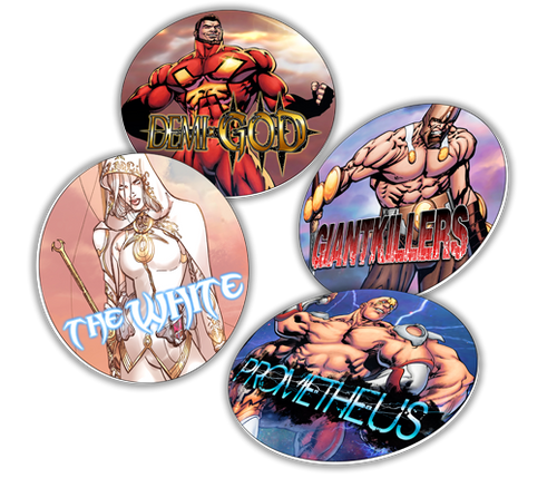 OMINOUS DIE CUT MAGNET DEMI-GOD, PROMETHEUS, GIANTKILLERS, THE WHITE Variants
