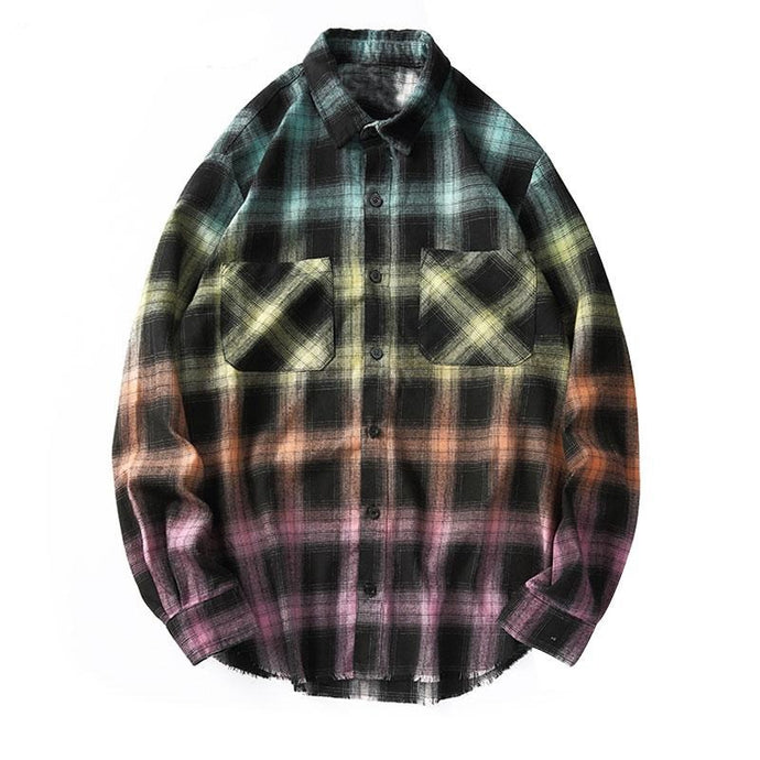 Tie Dye Plaid Long Sleeve Shirt