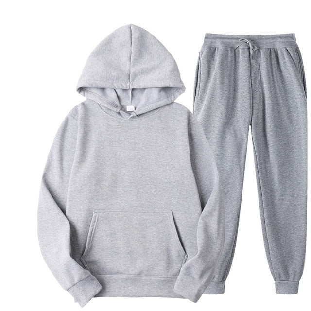 Plain Tracksuit with Hoodie & Joggers in Light Grey