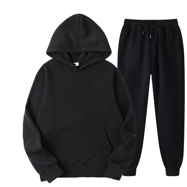 Tracksuit with Hoodie & Joggers in Black