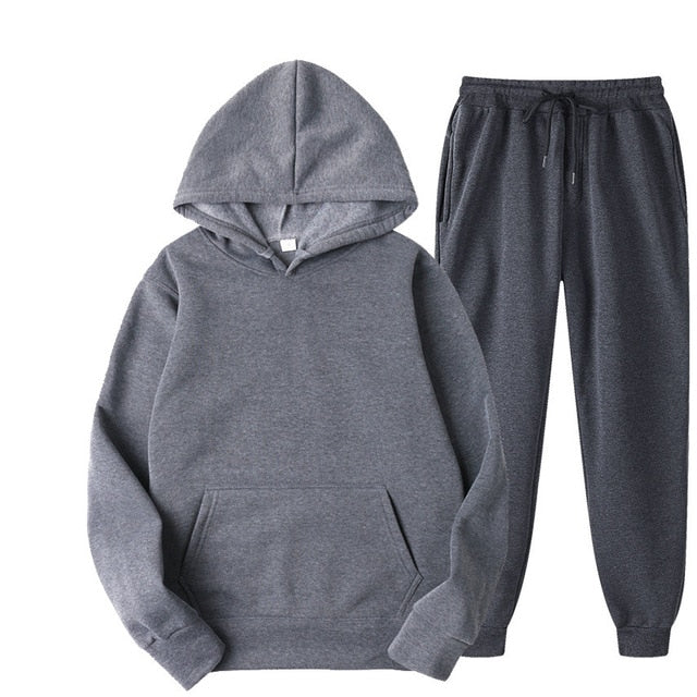 Plain Tracksuit with Hoodie & Joggers in Grey