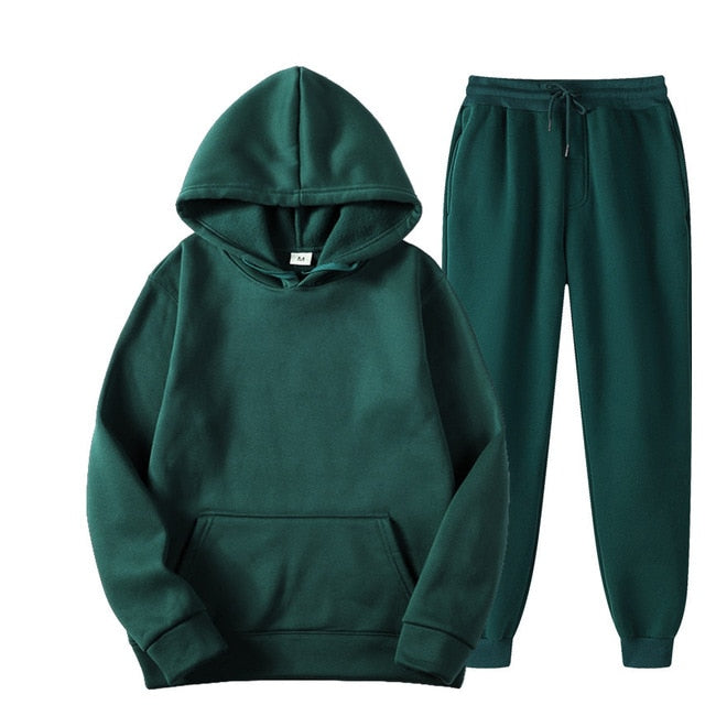 Tracksuit with Hoodie & Joggers in Dark Green