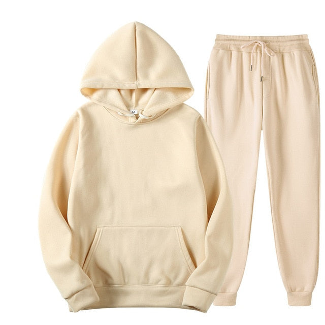 Plain Tracksuit with Hoodie & Joggers in Cream