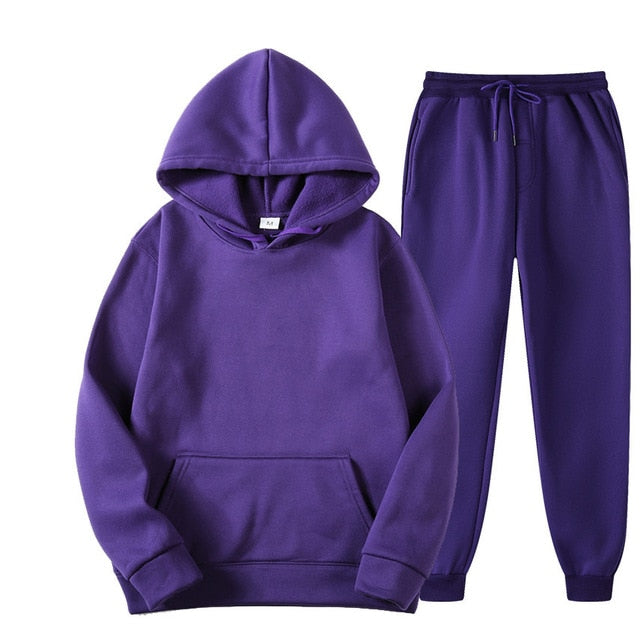 Plain Tracksuit with Hoodie & Joggers in Purple