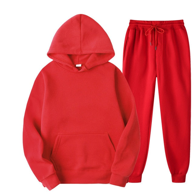 Tracksuit with Hoodie & Joggers in Red
