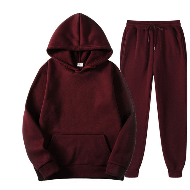 Plain Tracksuit with Hoodie & Joggers in Burgundy