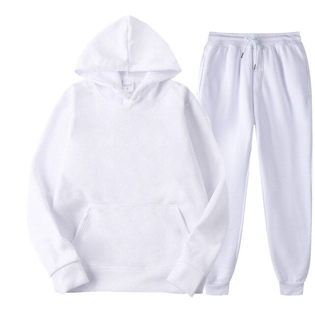 Plain Tracksuit with Hoodie & Joggers in White