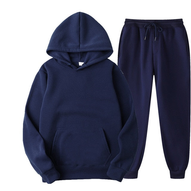 Plain Tracksuit with Hoodie & Joggers in Dark Blue