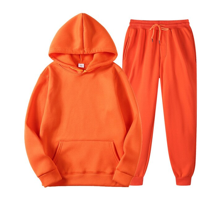 Plain Tracksuit with Hoodie & Joggers in Orange