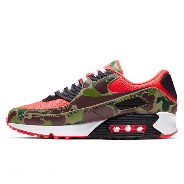 Panelled Running Trainer in Red w/ Camo Trim