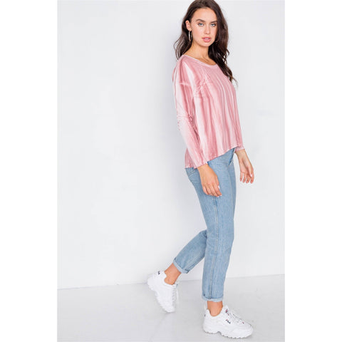 Women's Tie-dye Print High-low Long Sleeve Top-Habitout