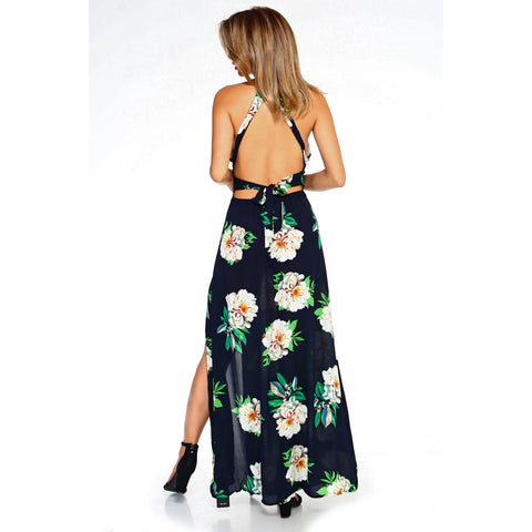 Women's Floral Sleeveless Slit Maxi Dress-Habitout