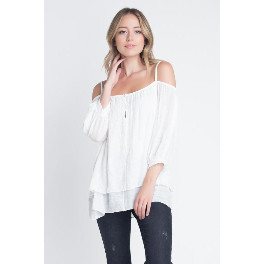 Women's 3/4 Sleeve Cold Shoulder Buttoned Top-Habitout