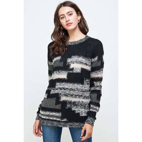 Women's Multi Yarn Sweater Top-Habitout