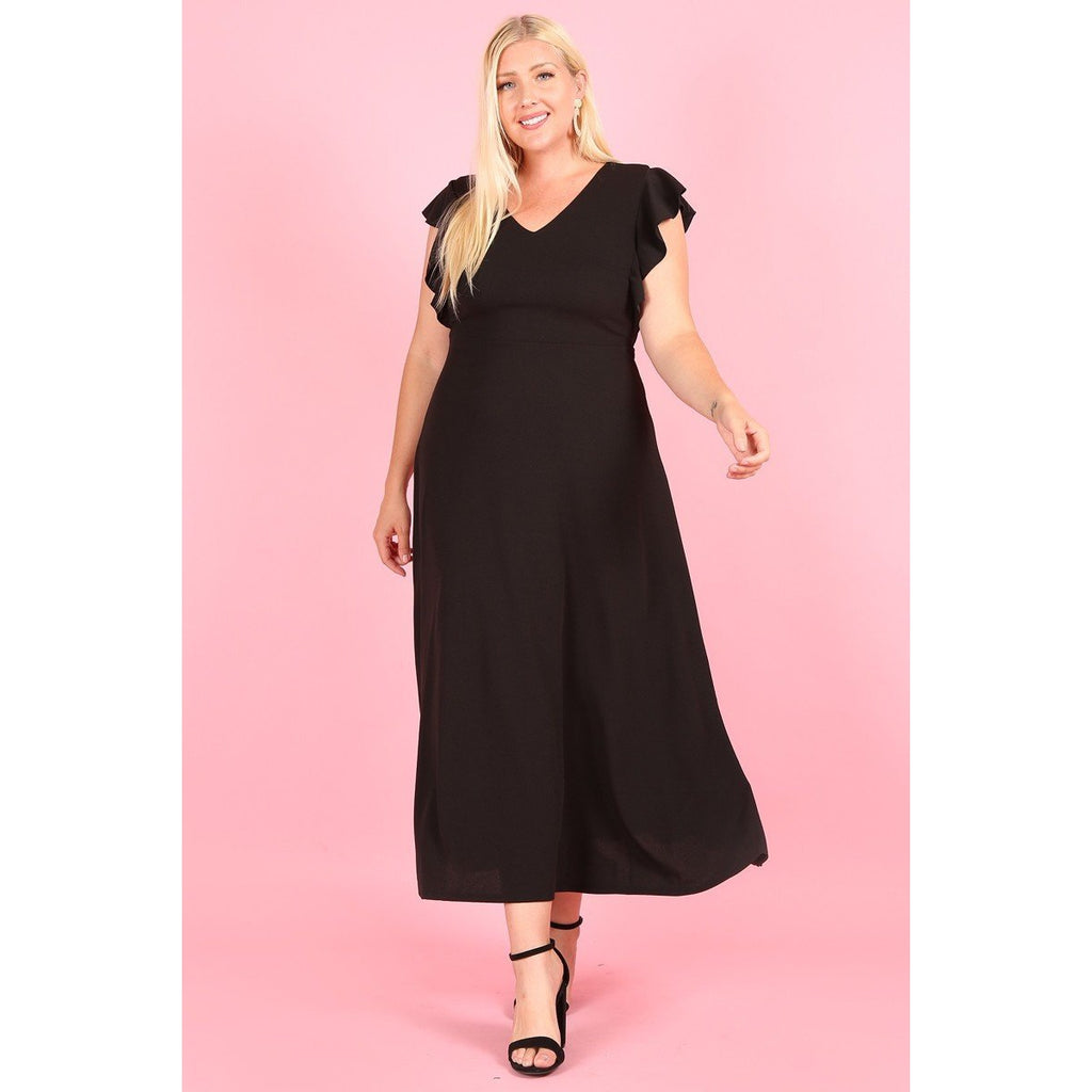 Women's Solid Maxi Dress With Flutter Sleeves-Habitout