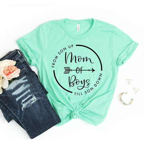 Women's Mom Of Boys T-shirt-Habitout
