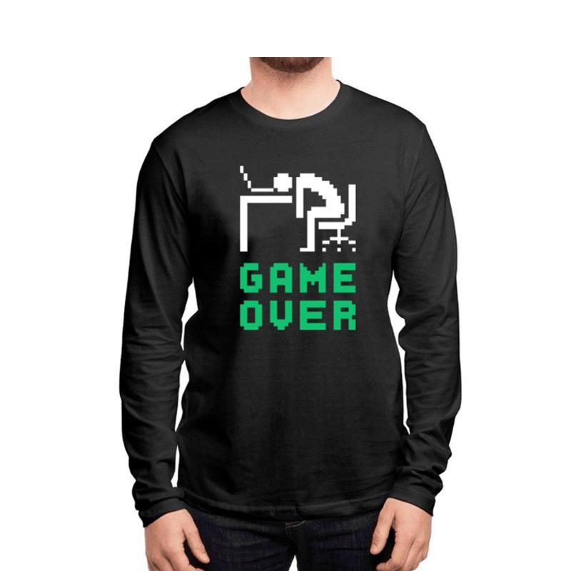 Men's Game Over Full Sleeves T-shirt Black-Habitout