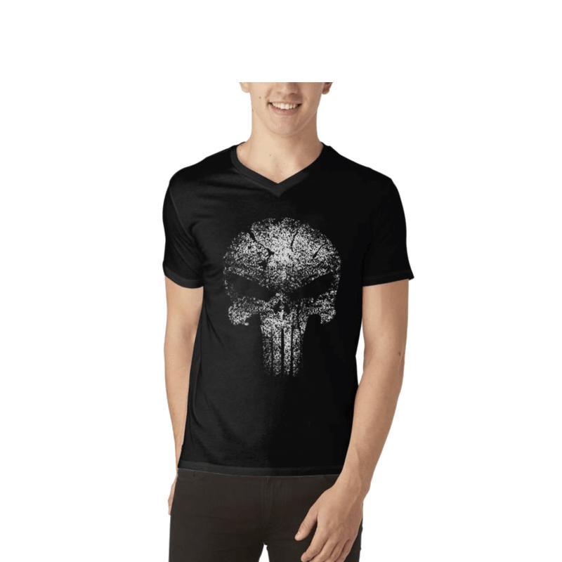 Men's Glow In The Dark V-Neck T-shirt Black-Habitout