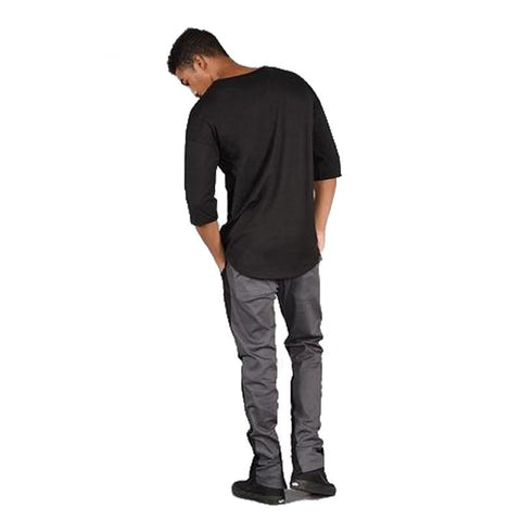 Men's Hybrid Oversized T-shirt Black-Habitout