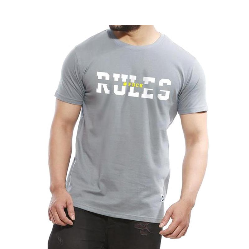 Men's Rules - Funky Half Sleeve T-Shirt Tower Grey-Habitout