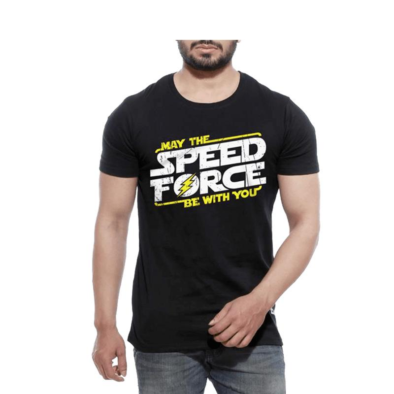 Men's Speed Force Half Sleeves T-shirt Black-Habitout