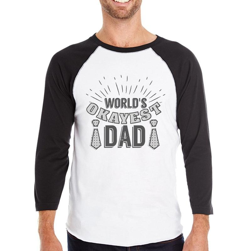 Men's World's Okayest Dad Mens Raglan Baseball Tee-Habitout