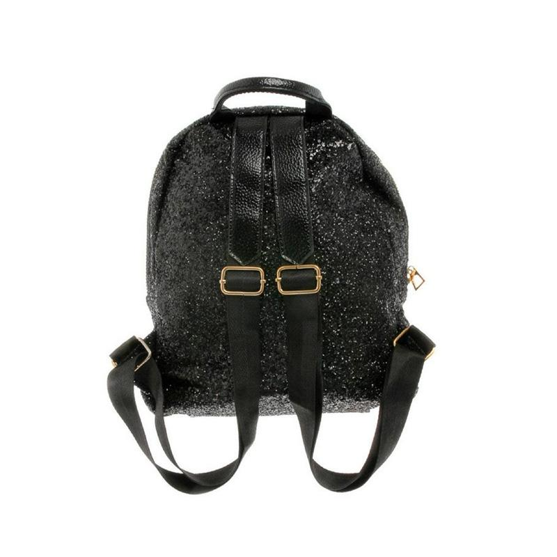 Mini Glitter Black Backpack-Habitout