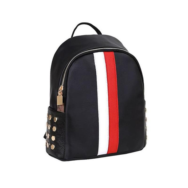 Preppy Style Unisex Black Rivet Backpack-Habitout