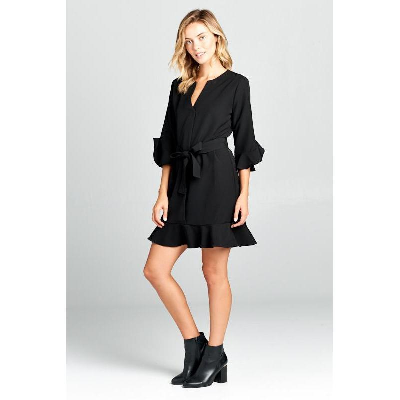 Women's Bell Sleeve Waist Tie Black Dress-Habitout