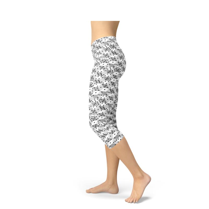 Women's Black and White Dice Capri Leggings-Habitout