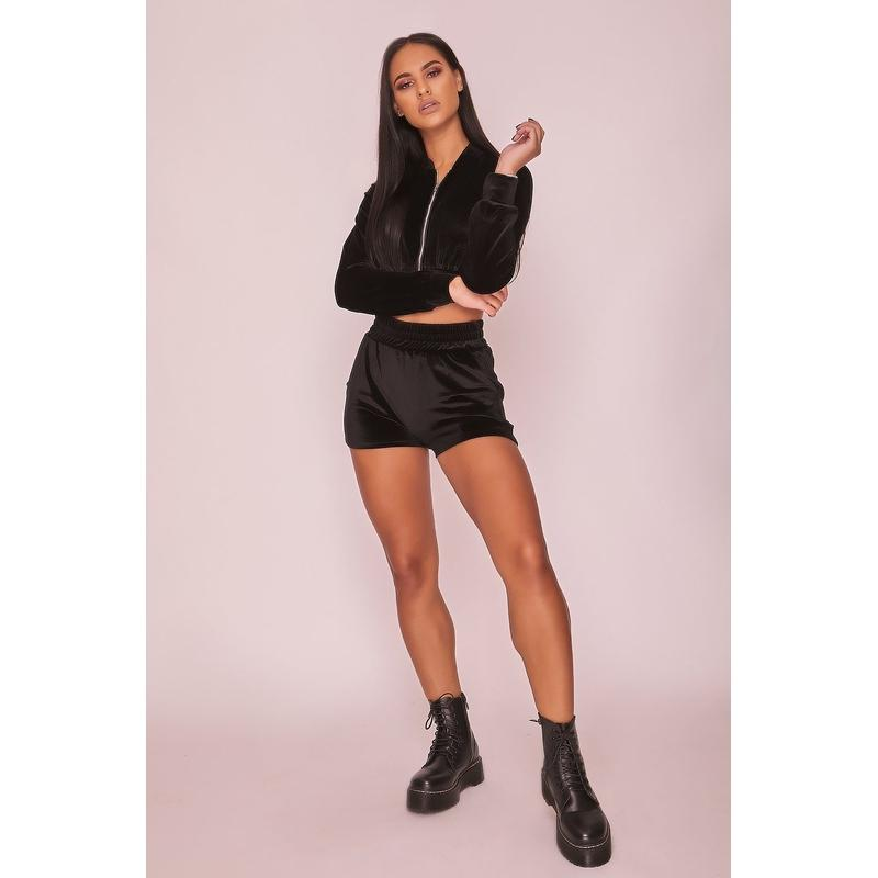 Women S Black Velour Tracksuit Shorts Habitout