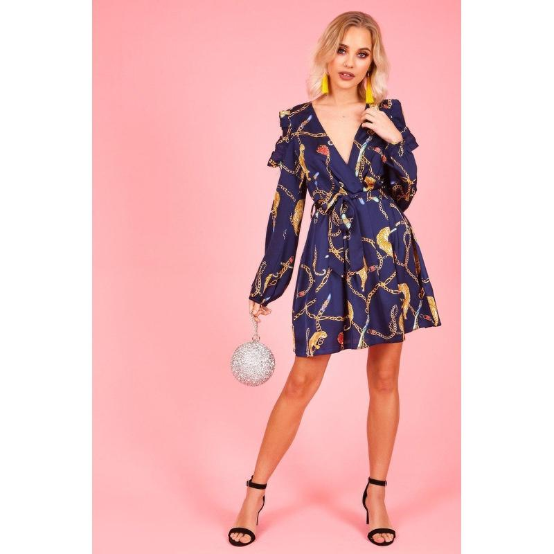 Women's Blue Chain Print Cold Shoulder Mini Dress-Habitout