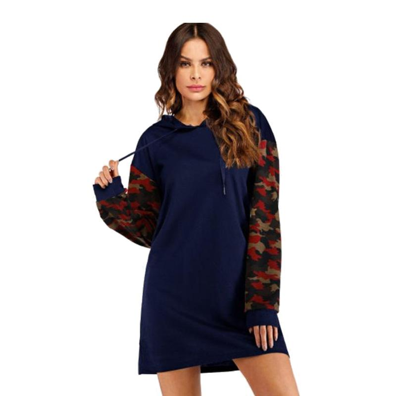 Women's Camo Hoodie Dress-Habitout