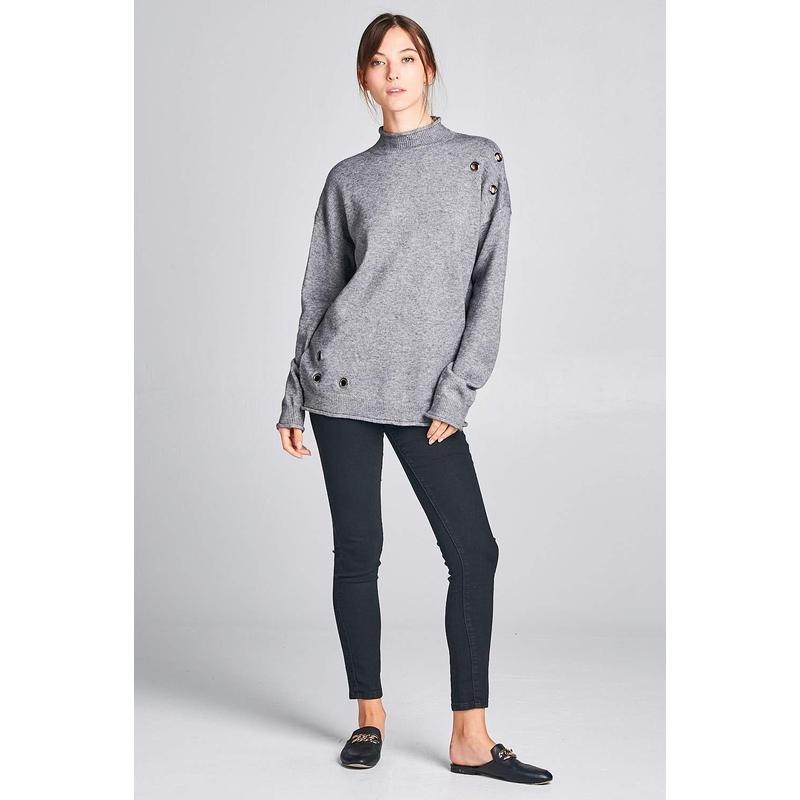 Women's Charcoal Mock Neck Sweater-Habitout
