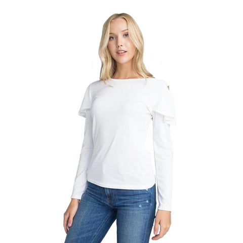 Women's Cold Shoulder Ruffle Top White-Habitout
