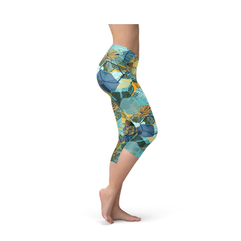 Women's Colorful Floral Capri Leggings-Habitout
