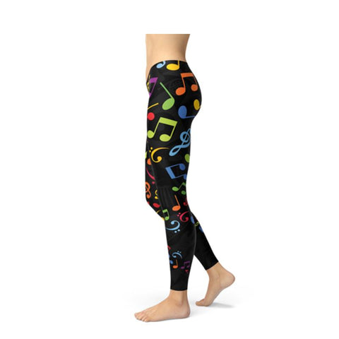 Women's Colorful Music Notes Fitness Leggings-Habitout