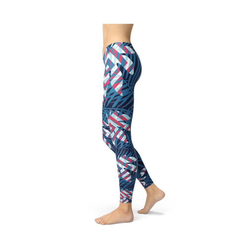 Women's Colorful Tropical Leaf Leggings Blue-Habitout