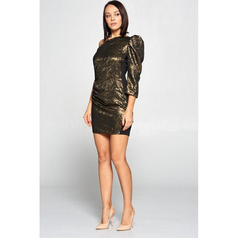 Women's Gold Off Shoulder Bodycon Dress-Habitout