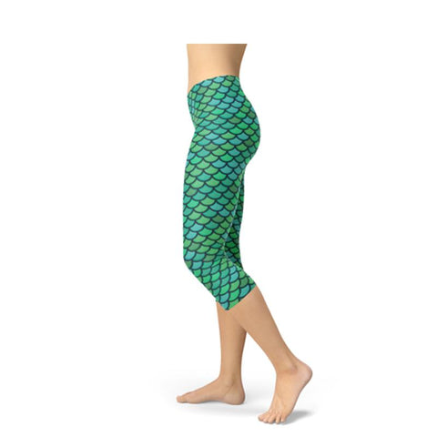 Women's Green Mermaid Fish Scale Capri Leggings-Habitout