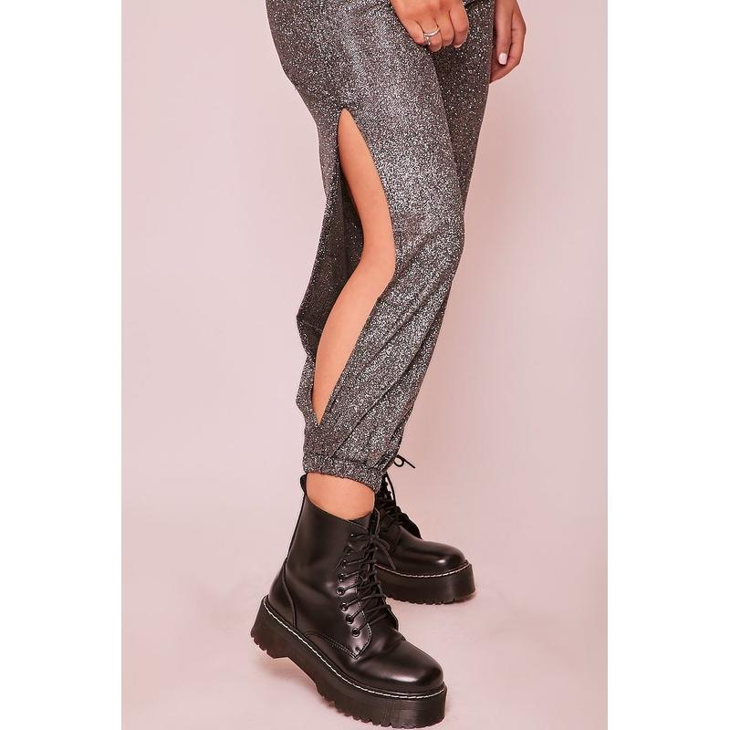 Women's Grey Sparkly Side Split Joggers-Habitout