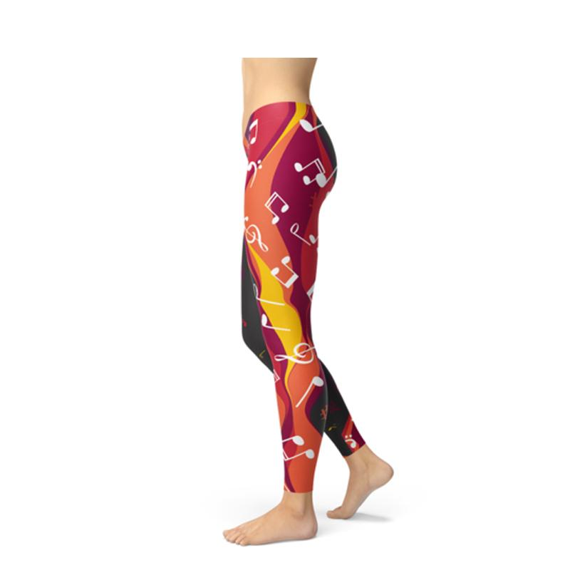 Women's Guitar and Music Note Leggings-Habitout