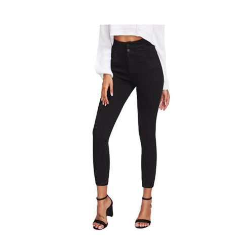 Women's High Waist Skinny Jeans Black-Habitout