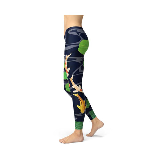 Women's Koi Fish Printed Fitness Leggings-Habitout