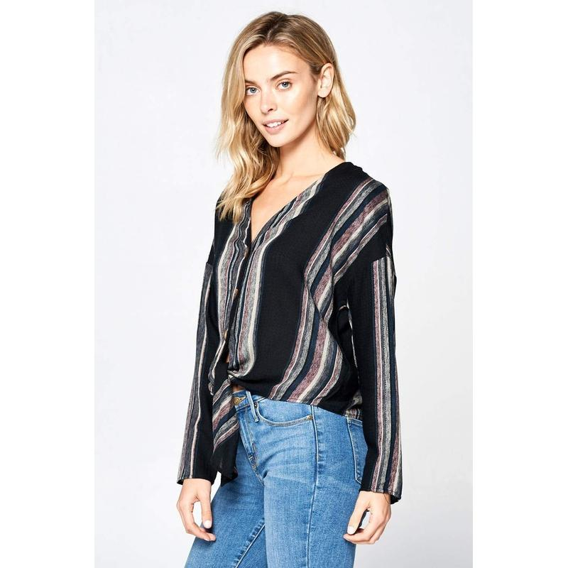 Women's Long Sleeve Striped Linen Button Up Top-Habitout