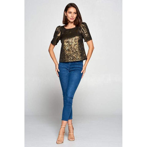 Women's Metallic Gold Top With Puff Sleeves-Habitout