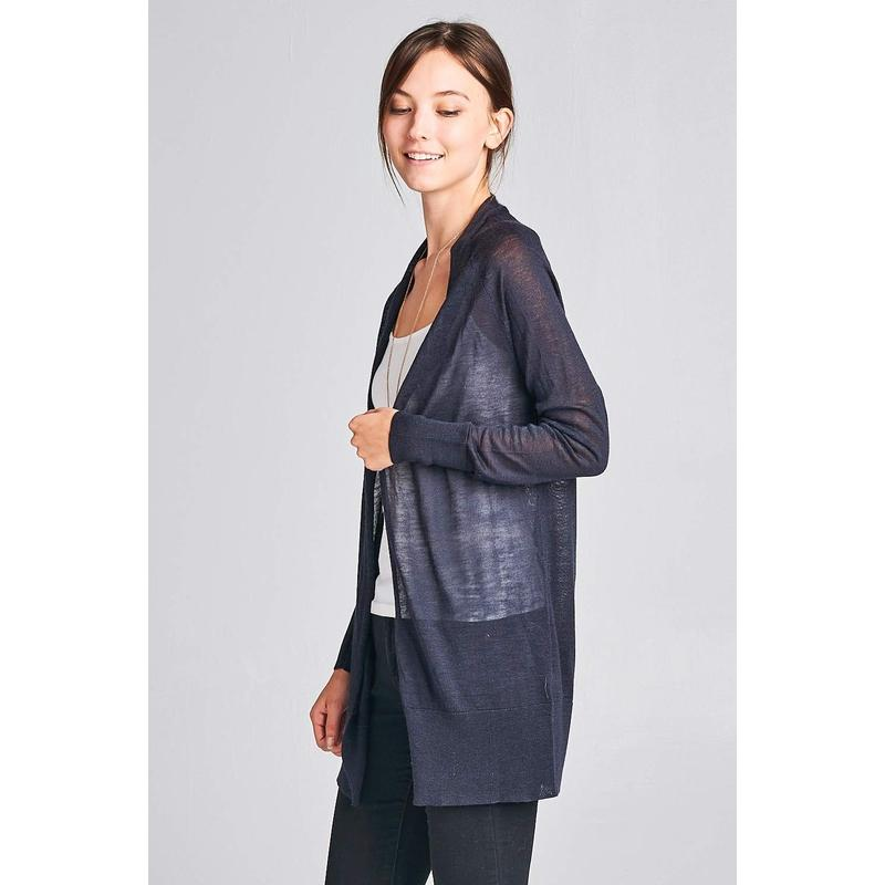 Women's Navy See Through Cardigan-Habitout