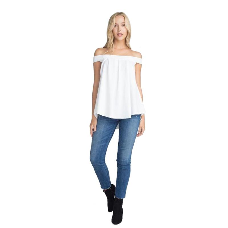 Women's Off The Shoulder Top White-Habitout